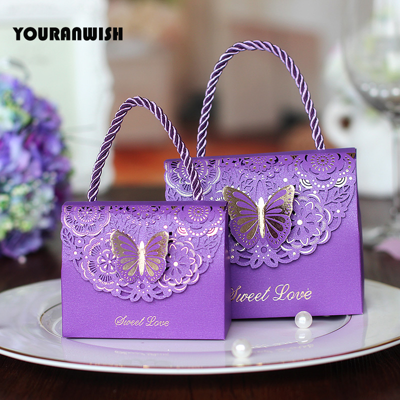 50pcslot High Quality Laser Cut Butterfly Flower Gift Bags Candy