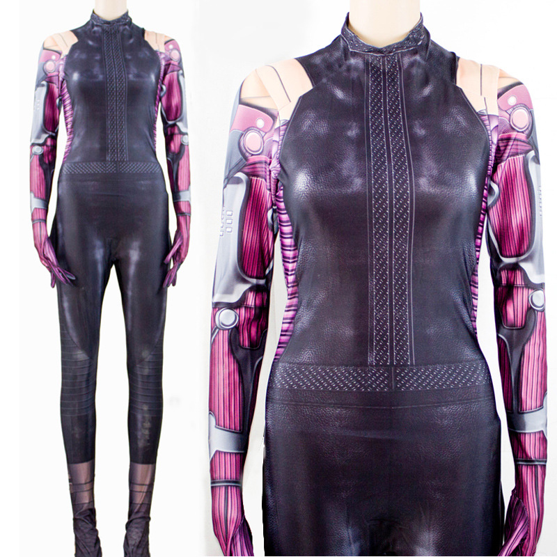 Movie Alita:Battle Angel Jumpsuit Cosplay Costume Women Superhero Alita Printing Bodysuit Zentai Tight Catsuit party Costume