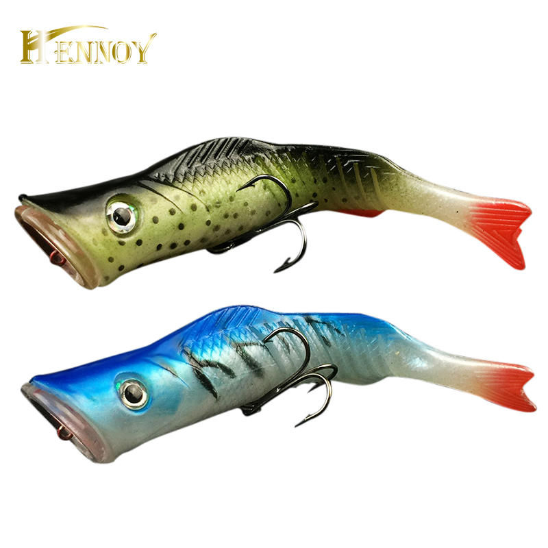 Hennoy Ny Soft Tail Popper Lure 11.5cm 17g Artificial Sea Fishing Poper Lure 11.5cm 17g Wobbler Isca Hard Bait Swimbait