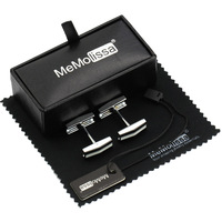 MMS White Black Folding Stick Cufflink Display Box Wiping Rag And Tag Gift For Men Or