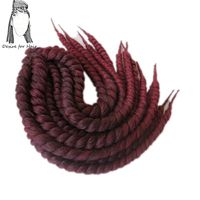 Desire For Hair 8packs 18inch 110g 12strands Crochet Synthetic Mambo Twist Braids Hair Ombre Black Burgundy