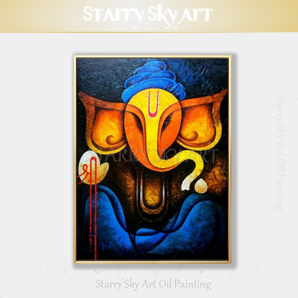 Indian God Ganesh Art Picture Hand Painted Canvas Elephant Painting Abstract Modern Wall Art Painting Ganesh Portrait Painting Painting Calligraphy Aliexpress