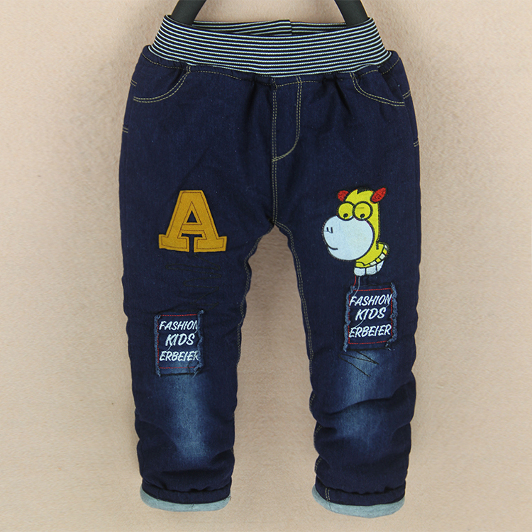 Super Promotions 2017 New Winter baby boy jeans warm fashion style fit for 2 3 4 5 years old denim trousers boys pants B040