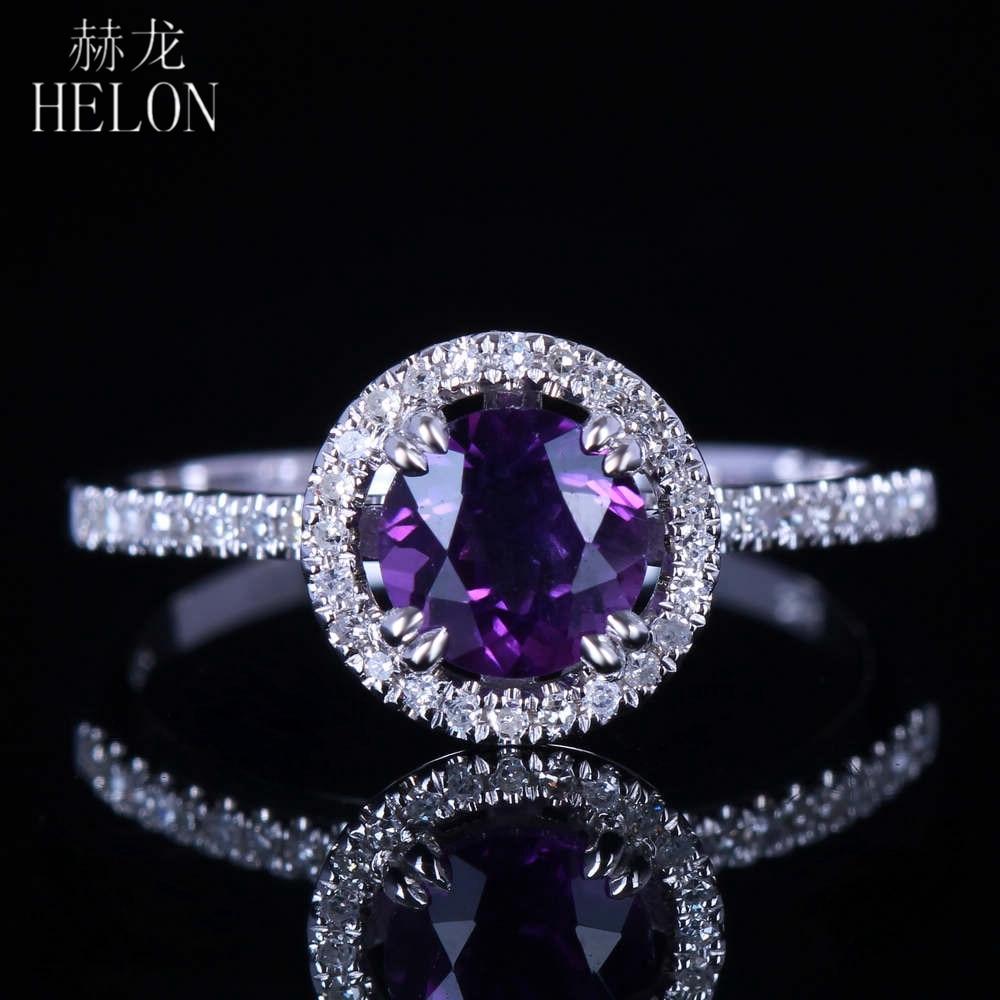 HELON Solid 14K White Gold Amethyst 6.5mm Round Natural Diamonds Engagement Wedding Ring Diamonds Fine Jewelry Ring Women's