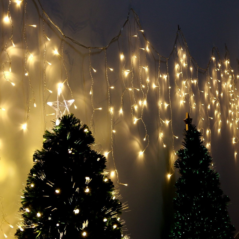 Image 3 - Curtain Icicle Led String Lights 220V 5m Droop 0.4 0.5 0.6m Fairy Lights for eaves, garden, balcony ,Chritmas Decoration-in LED String from Lights & Lighting on