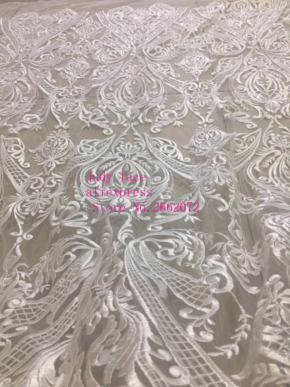 Stock 5 yards/sac CH79 # tissu de style rétro pailleté brodé blanc utilisé sur la scène de la robe de mariée
