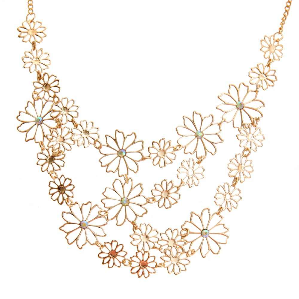 Hesiod Vintage Bohemia Multi-layer Hollowed Flower Necklace For Women