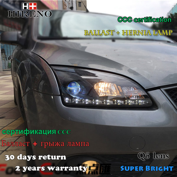 Hireno Headlamp for 2005-07 Ford Focus Headlight Assembly LED DRL Angel Lens Double Beam HID Xenon 2pcs hireno headlamp for 2008 2012 subaru forester headlight assembly led drl angel lens double beam hid xenon 2pcs