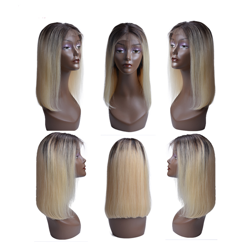 1B Blonde Lace Front Wig Ombre Brazilian Straight Wig Remy Ombre 613 Lace Front Human Hair Wigs For Black Women Middle Part-in Human Hair Lace Wigs from Hair Extensions & Wigs    1