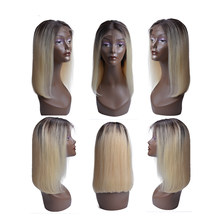 1B Blonde Lace Front Wig Ombre Brazilian Straight Wig Remy Ombre 613 Lace Front Human Hair Wigs For Black Women Middle Part(China)