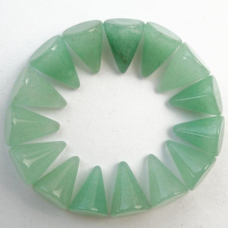 Free Shipping!(10Pcs/lot) Wholesale 10Pcs Faceted Green Aventurine Pendulum CAB CABOCHON 10x7mm SHX113