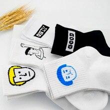 Harajuku Cute Cotton Woman Girls Socks Korean Funny Cartoon 1Pair Emoji Patterned Creative Hipster