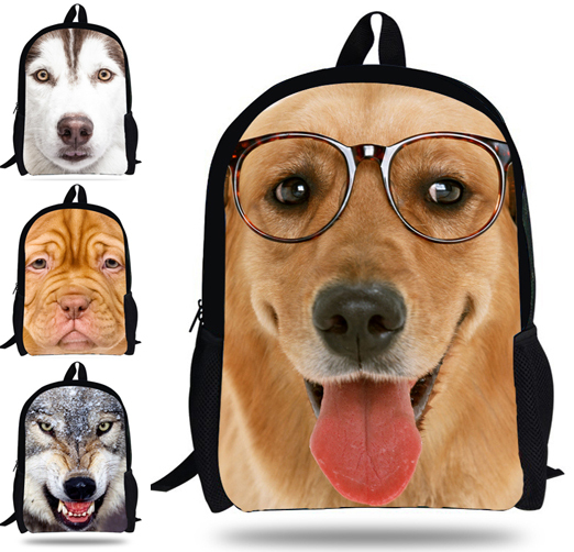 16inch Mochila Dog Head Bag Children Girl Zoo Bags Kids Backpack
