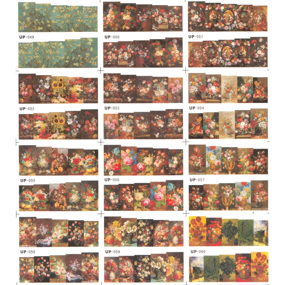 UPRETTEGO 12 PACK/ LOT WATER DECAL NAIL ART NAIL STICKER SLIDER FULL COVER OIL PAINTING FLOWER VINTAGE VASE ROSE PEONY UP49-60 30pcs lot ink painting wait for flower in full bloom vintage memory postcard set greeting cards christmas postcards hg038