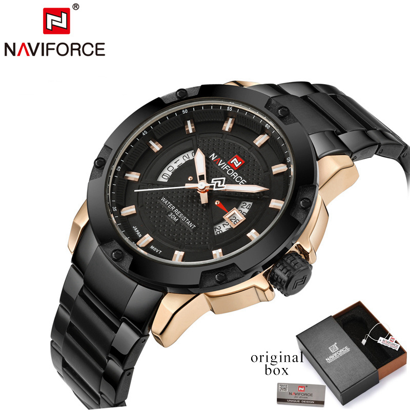 NAVIFORCE Mens Watches Top Brand Luxury Sports Watch Men Full Steel Quartz Watch Man Clock relogio masculino Army Military LX70 brand amuda fashion digital watch men led full steel gold mens sports quartz watch military army male watches relogio masculino