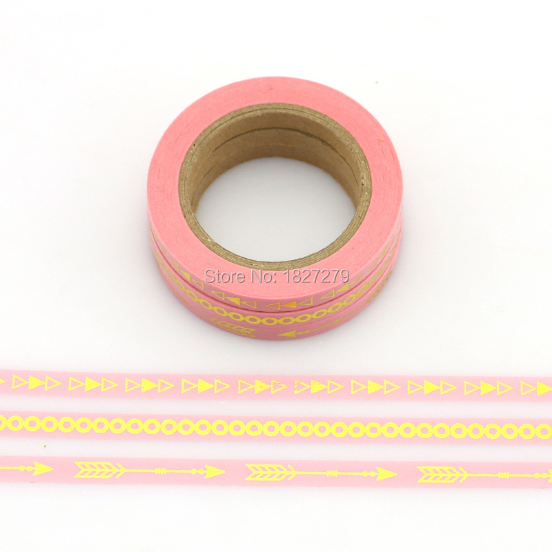 (3pcs Set) pink,mint,black color foil Washi Tape Set Scrapbooking Decorative Tapes Adhesive Tape