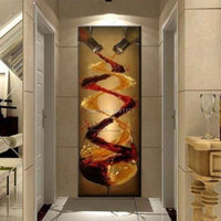 abstract canvas oil painting hand-painted long vertical version wall art wine murals Villa hotel Corridor Decoration Picture
