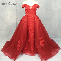 real red prom dresses with sweetheart neckline lace hand made flowers detachable train puffy evening dresses gowns arabic 2018