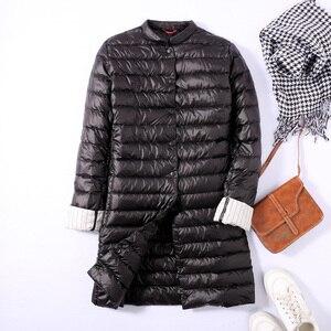 Image 5 - Ftlzz 울트라 라이트 오리 롱 자켓 여성 스프링 패딩 웜 코트 여성 자켓 오버 코트 겨울 코트 휴대용 파커