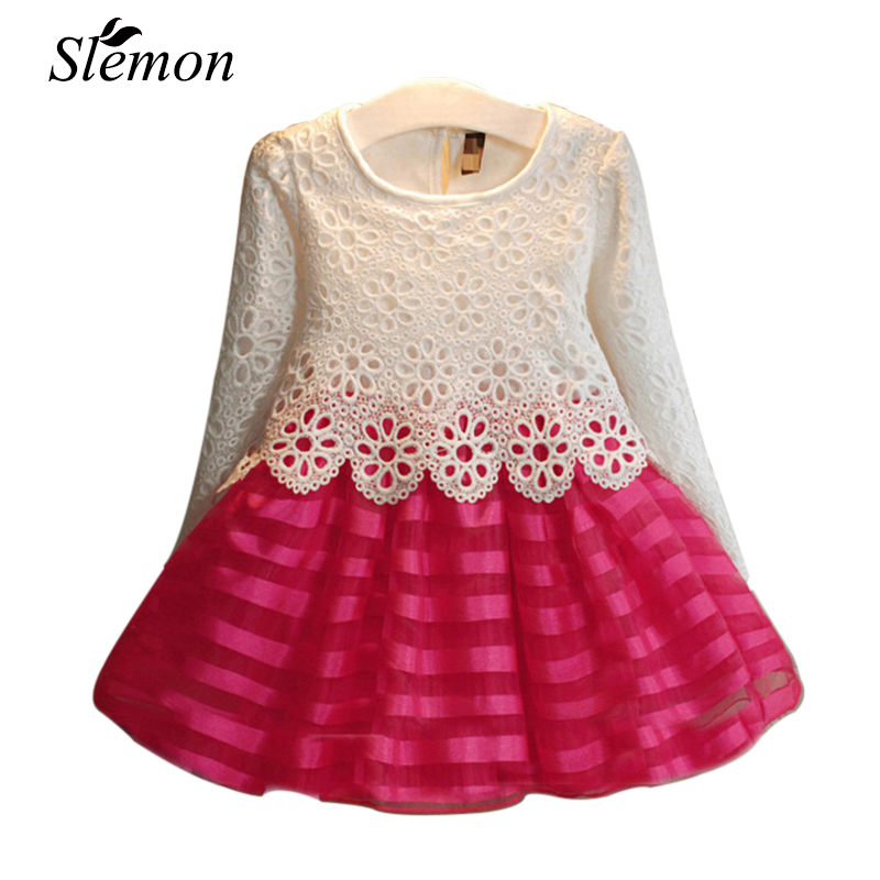 Toddler Girls Tutu Dress 2017 Autumn Kids Baby Hook Flower Lace Long Sleeve Princess Dresses Girls 3 5 7 8 9 12 Years Clothes
