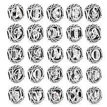 Contas de berloques de letras redondas, 1 peça, cor prata 26, inglês, ajuste original, pulseiras, colares pandora para mulheres, joias w008