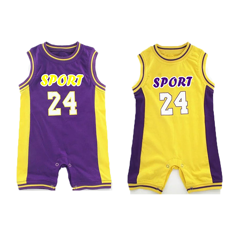 YSCULBUTOL Twin Baby Sport Bodysuit Basketball Cute Big Brother Twin Infant Baby Clothing 0-12M