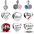 100% Authentic 925 Sterling Silver Family Dad Mum Charm Beads Fit Pandora Bracelet Pendants DIY Original Jewelry Father Gift