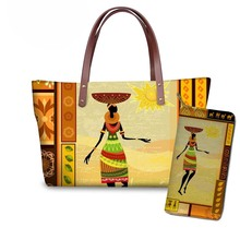 NOISYDESIGNS Ladies Luxury Design Handbags&Wallet Women African Traditional Tribal Dance Printing Hand Bags Teenagers Bookbag