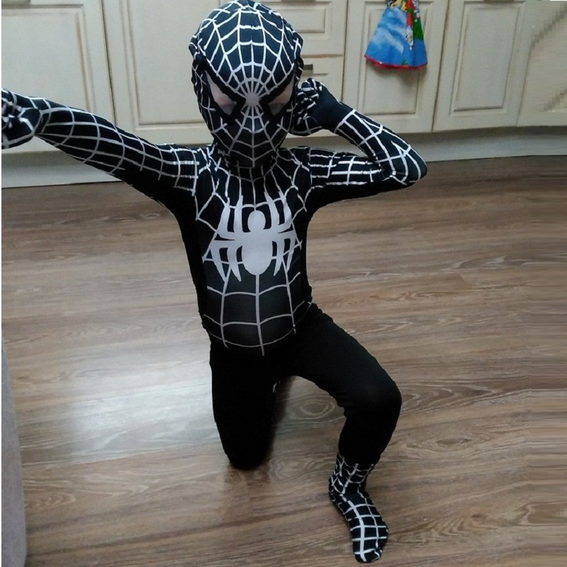 the amazing mask kids adult children halloween costumes for boys Spiderman black red spider man homecoming costume suit cosplay