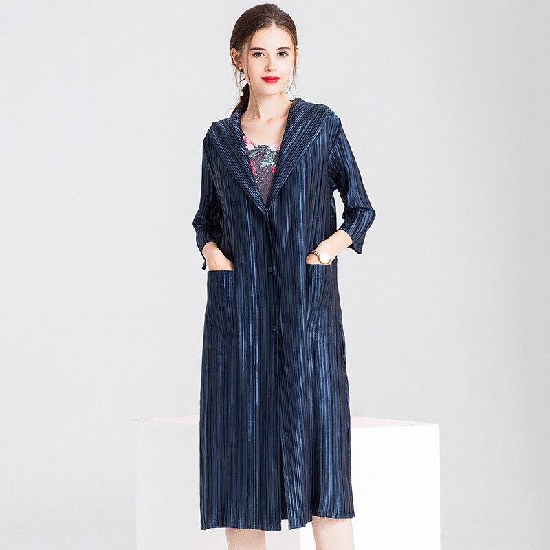 الربيع النساء مطوي أزياء جديدة المد بلون مقنعين سترة طويلة سيدة قواطع معطف-في معطف مبطن من ملابس نسائية على  مجموعة 2