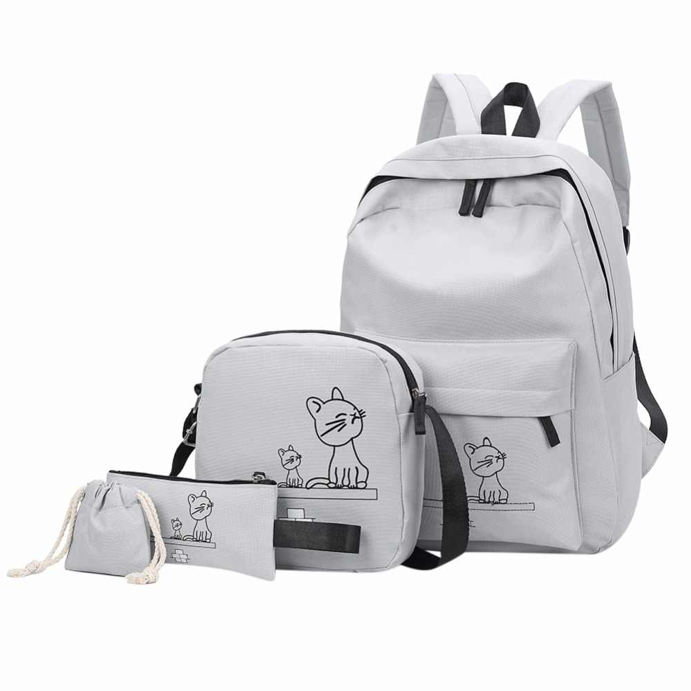 eb98121763f 4cs set female backpack Oxford Printing Cute Cat school bags for teenage  girls women s backpacks