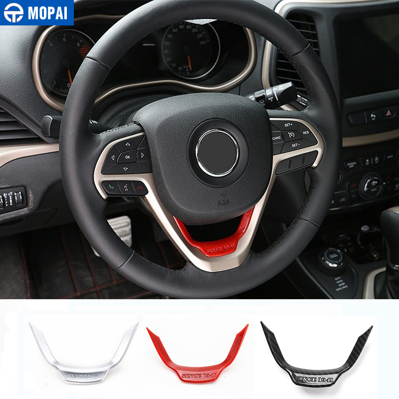 Mopai car interior accessories abs steering wheel decoration trim stickers for jeep cherokee for Jeep cherokee interior accessories