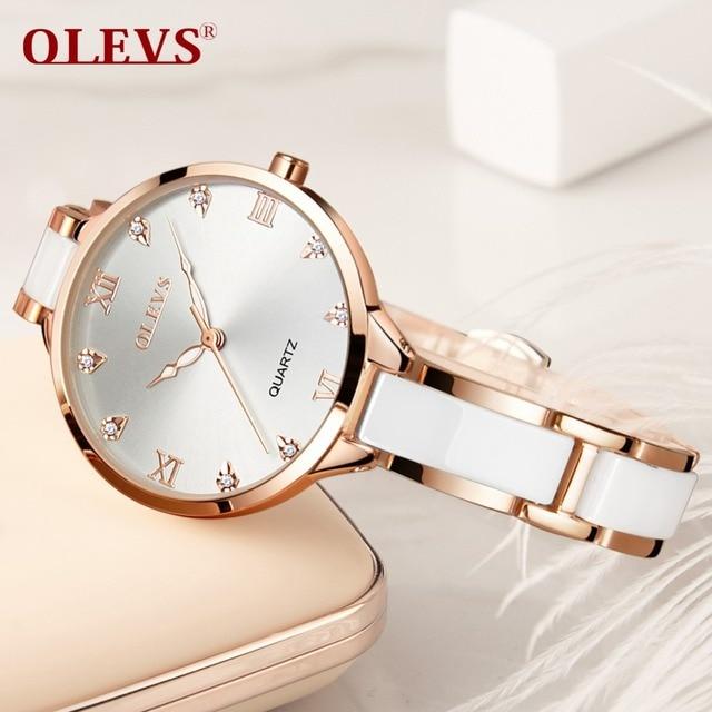 OLEVS Women Watches Luxury Rose Gold Fashion Crystal waterproof Ceramics Dress D
