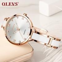 OLEVS Women Watches Luxury Rose Gold Fashion Crystal waterproof Ceramics Dress Diamonds ladies watch Wristwatch High quality NEW