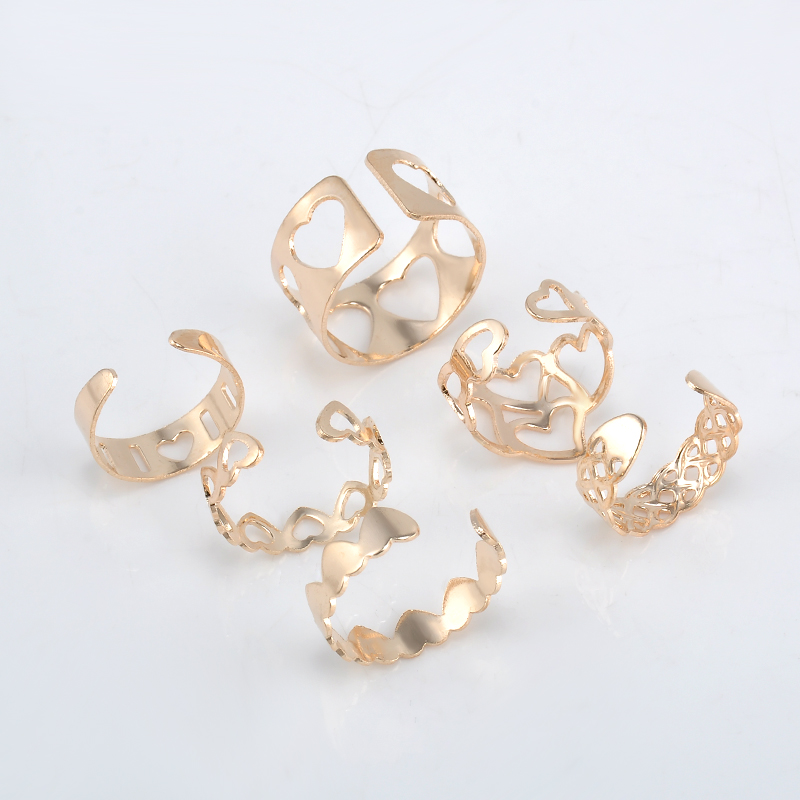 Fashion 6pcs/Set Sweet Hearts Rings Stackable Midi Ring Set Of Rings for Women Party Adjustable Free Shipping