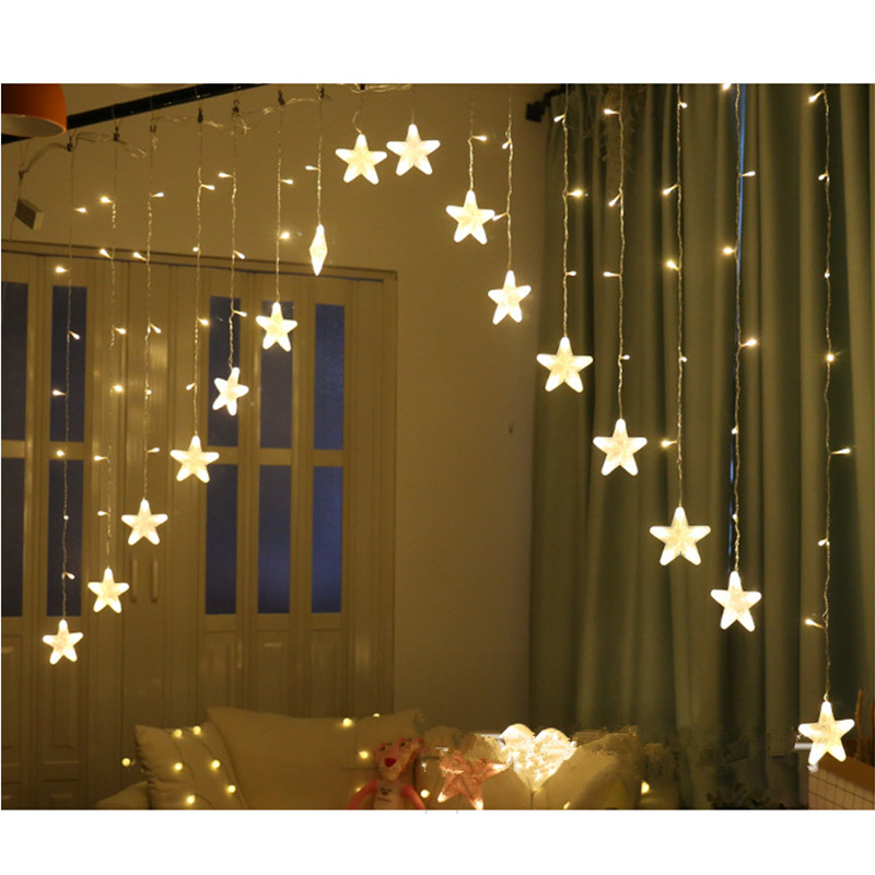 ZPAA 3M 16 LED Star Curtain String Lights Christmas Fairy Light Garland Led Wedding Home Party Birthday Garland Decoration EU