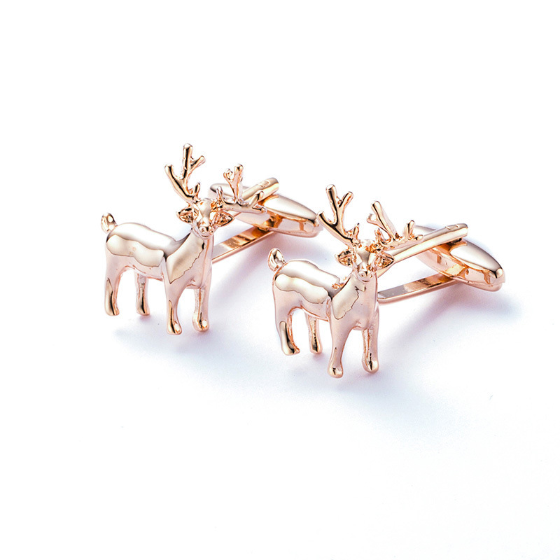 Rose gold color Cuff links Christmas Gift Copper Cufflink Novelty Xmas Gift French Button Present Deer Animal Jewelry Gemelos