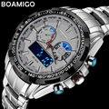 Мужчины спортивные часы военная стали цифровые часы Световой рук кварцевые часы 2017 BOAMIGO серебряный подарок часы водонепроницаемые наручные часы