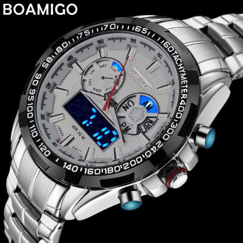 цена BOAMIGO top luxury brand men sports watches military fashion business steel digital quartz watch gift clock relogio masculino