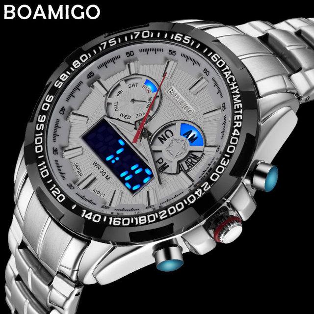 BOAMIGO 最高級ブランドの男性のスポーツは、軍事ファッションビジネス鋼デジタルクオーツ腕時計ギフト時計レロジオ masculino