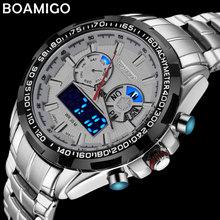 BOAMIGO למעלה יוקרה מותג גברים ספורט שעונים צבאי אופנה עסקי פלדה דיגיטלי קוורץ שעון מתנת שעון relogio masculino