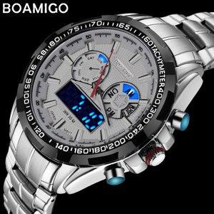 Image 1 - Boamigo 최고 럭셔리 브랜드 남자 스포츠 시계 군사 패션 비즈니스 철강 디지털 쿼츠 시계 선물 시계 relogio masculino