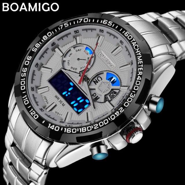 Boamigo 최고 럭셔리 브랜드 남자 스포츠 시계 군사 패션 비즈니스 철강 디지털 쿼츠 시계 선물 시계 relogio masculino