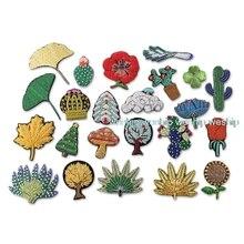 DIY 3D ручной работы вышитые значки растения/Кактус/лист/Роза/значки «дерево» повязка аппликация для пальто брюки сумка брошь