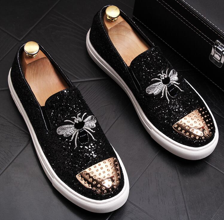 Fashion Men bees Embroidery sheet metal Trendy Casual thick bottom platform Shoes Male wedding Dress Prom moccasins loafer 3