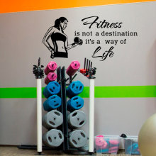 Sports Wall Decal Quotes Fitness Is Not A Destination It's A Way Of Life Vinyl Sticker Gym Fitness Health Sports Art Mural WY-41