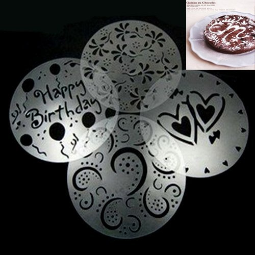 Free shiping,four sugar birthday heart leaf cake spray mold screen printing film coffee tiramisu spray mode Pad
