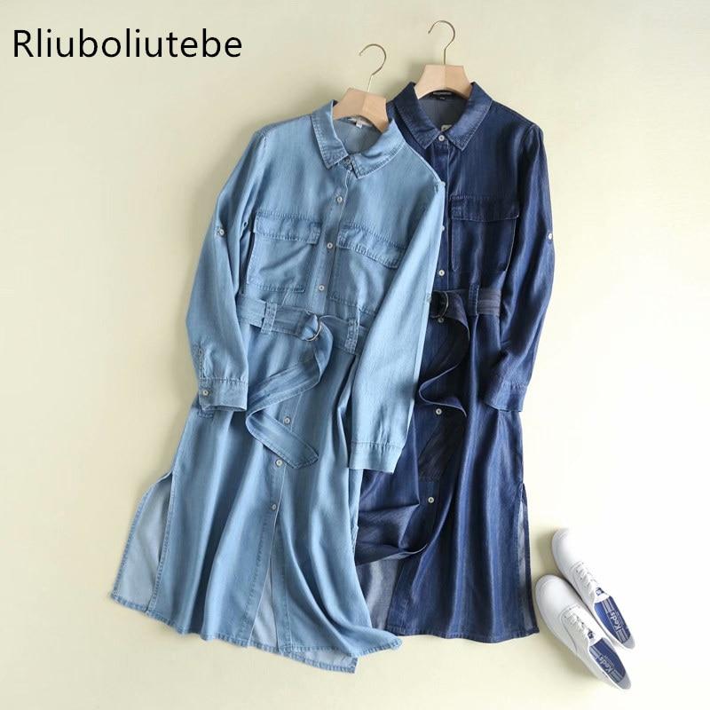 autumn casual denim   trench   coat for women belt pocket long sleeve light blue denim long coat overcoat women clothes fashion