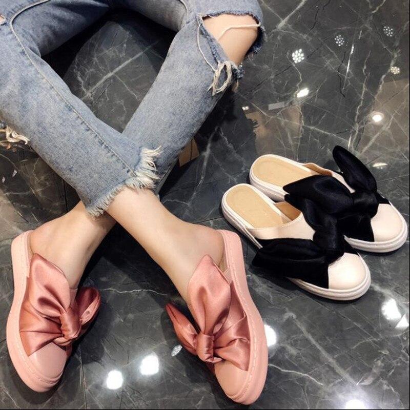 Chaussures Femme Show Show De Sandales Nouveau As Gladiateur as Style Femmes Lapin Doux noeud Rose Mignon Soie Chic Noir Oreilles Appartements Papillon Pantoufles 4TnUR