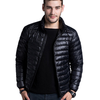 Men Casual Warm Jackets Solid Thin Breathable Winter Down Jacket 2015 Men Outdoors Coat Lightweight Plus